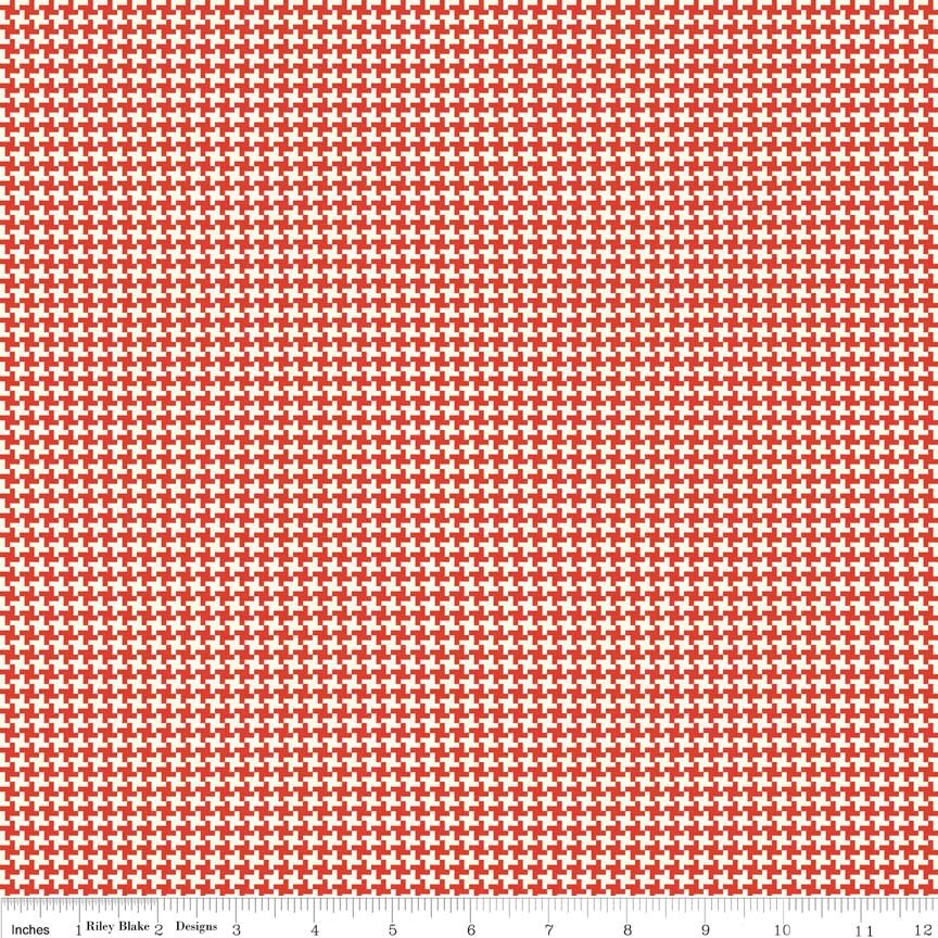 Hope Chest Houndstooth Red Yardage