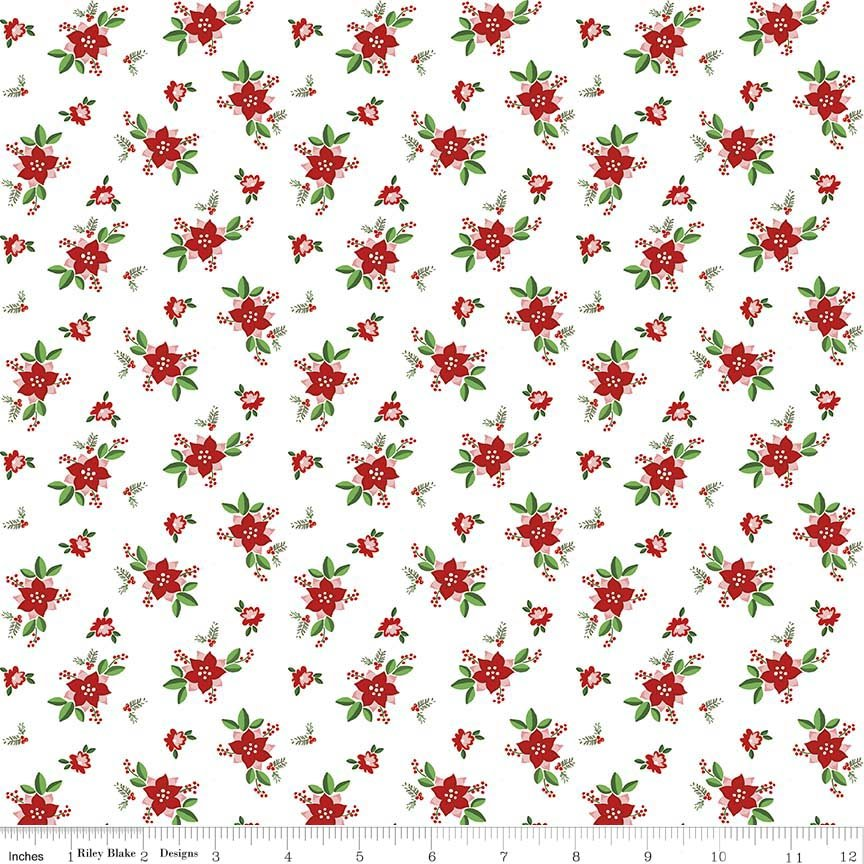 Pixie Noel Floral White Yardage