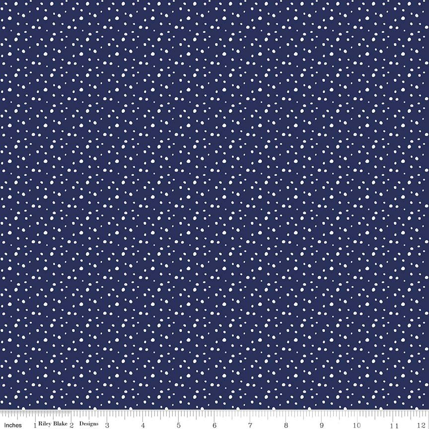 Pixie Noel Snow Navy Yardage