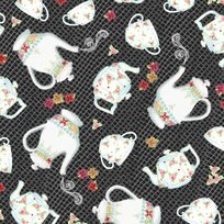 Afternoon Delight Black Teapot & Teacup Toss Yardage
