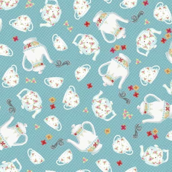 Afternoon Delight Teal Teapot & Teacup Toss Yardage