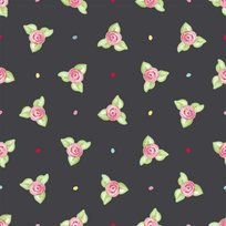Afternoon Delight Black Small Flower Toss Yardage
