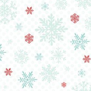 Peppermint Penguin White Snowflake Yardage