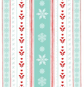 Peppermint Penguin Aqua Snowflake Striped Yardage