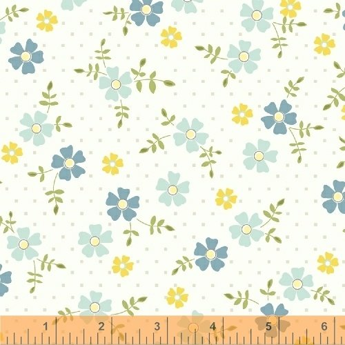 Oh Clementine Tossed Flower White Yardage