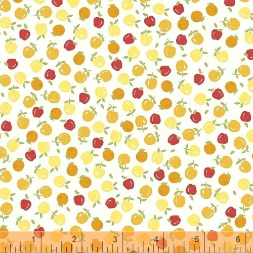 Oh Clementine Apples White Yardage