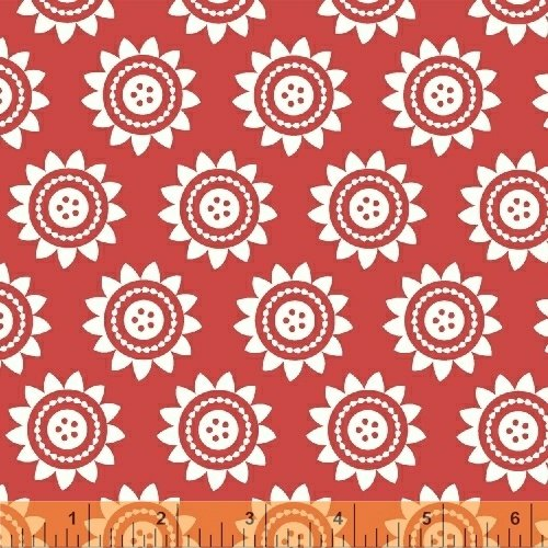 Oh Clementine Sun Medallions Red Yardage