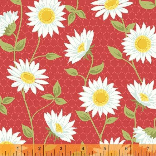 Oh Clementine Sunflower Red Yardage