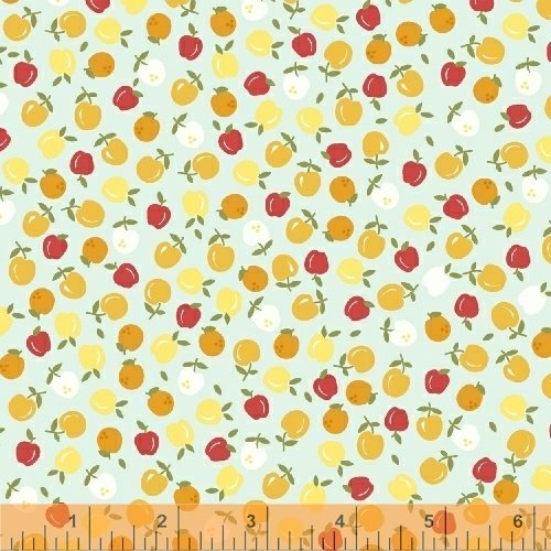 Oh Clementine Apples Aqua Yardage