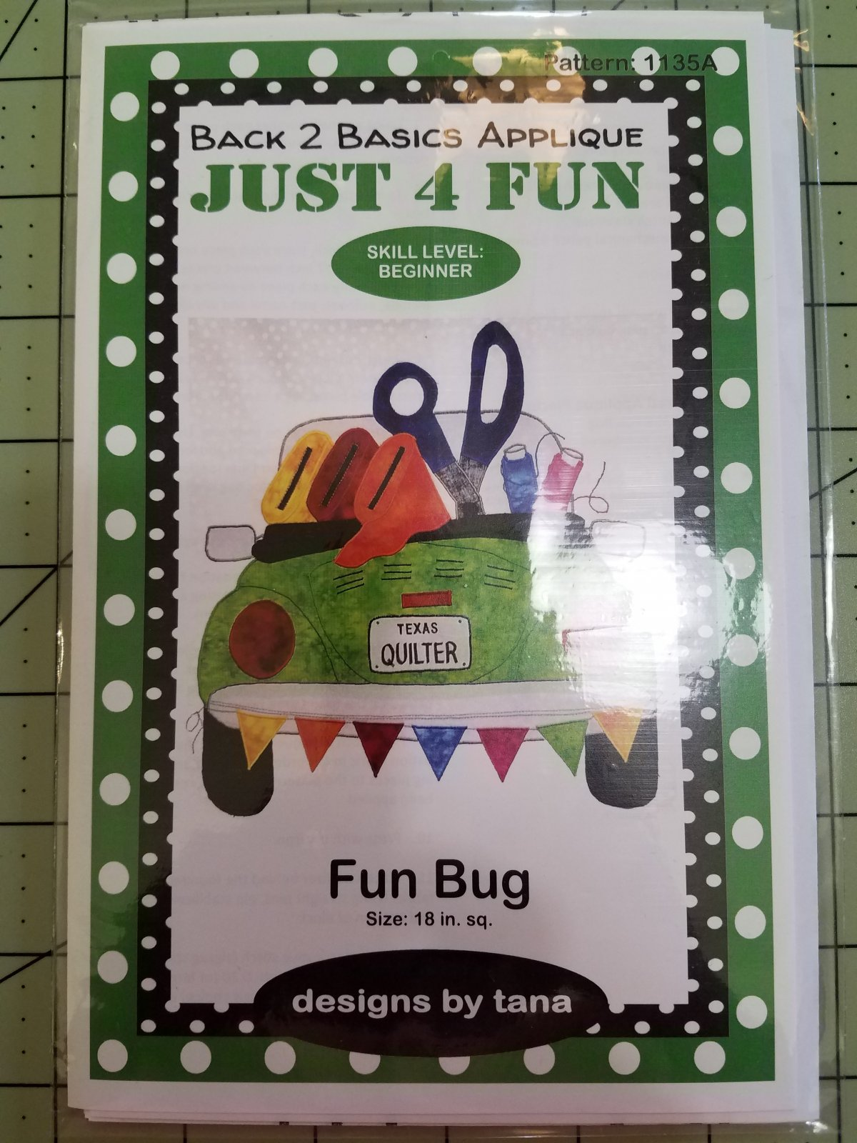 Fun Bug Green Applique Pattern and Kit