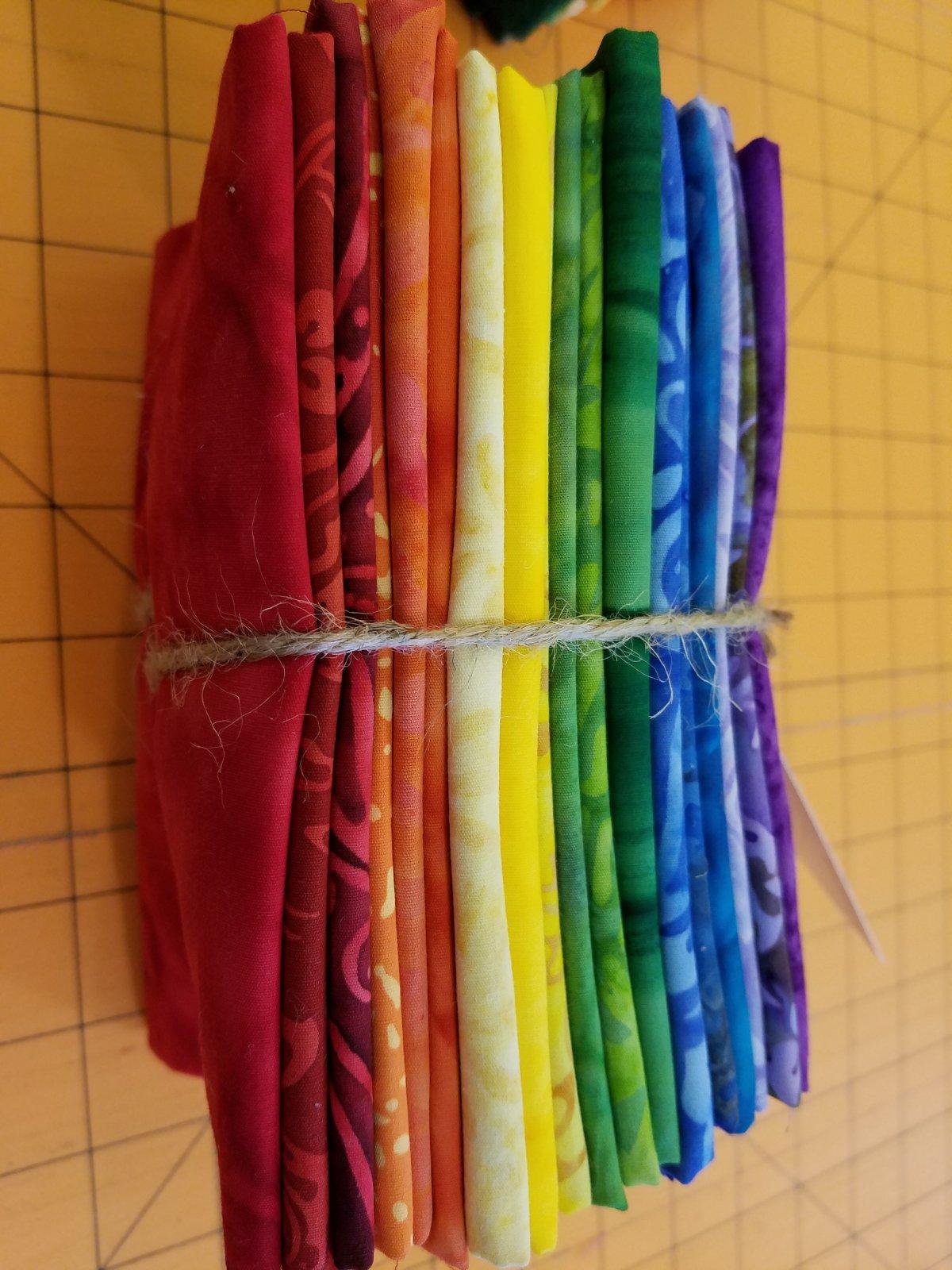 Rainbow Batik Fat Quarter Bundle of 18