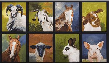 Robert Kaufman Down on the Farm Panel AWB 16513 268 Farm Animals