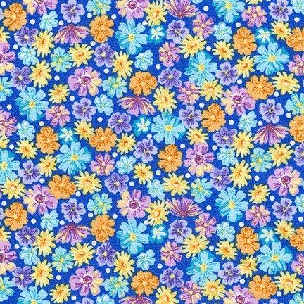 Wildflowers Blue FLH-20290-4 Flowerhouse Wildflowers Robert Kaufman