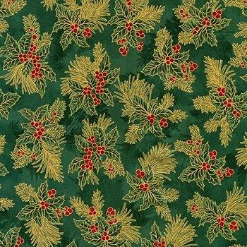 Holiday Flourish Metallic 12 Green by Robert Kaufman APTM-18345-7 Green