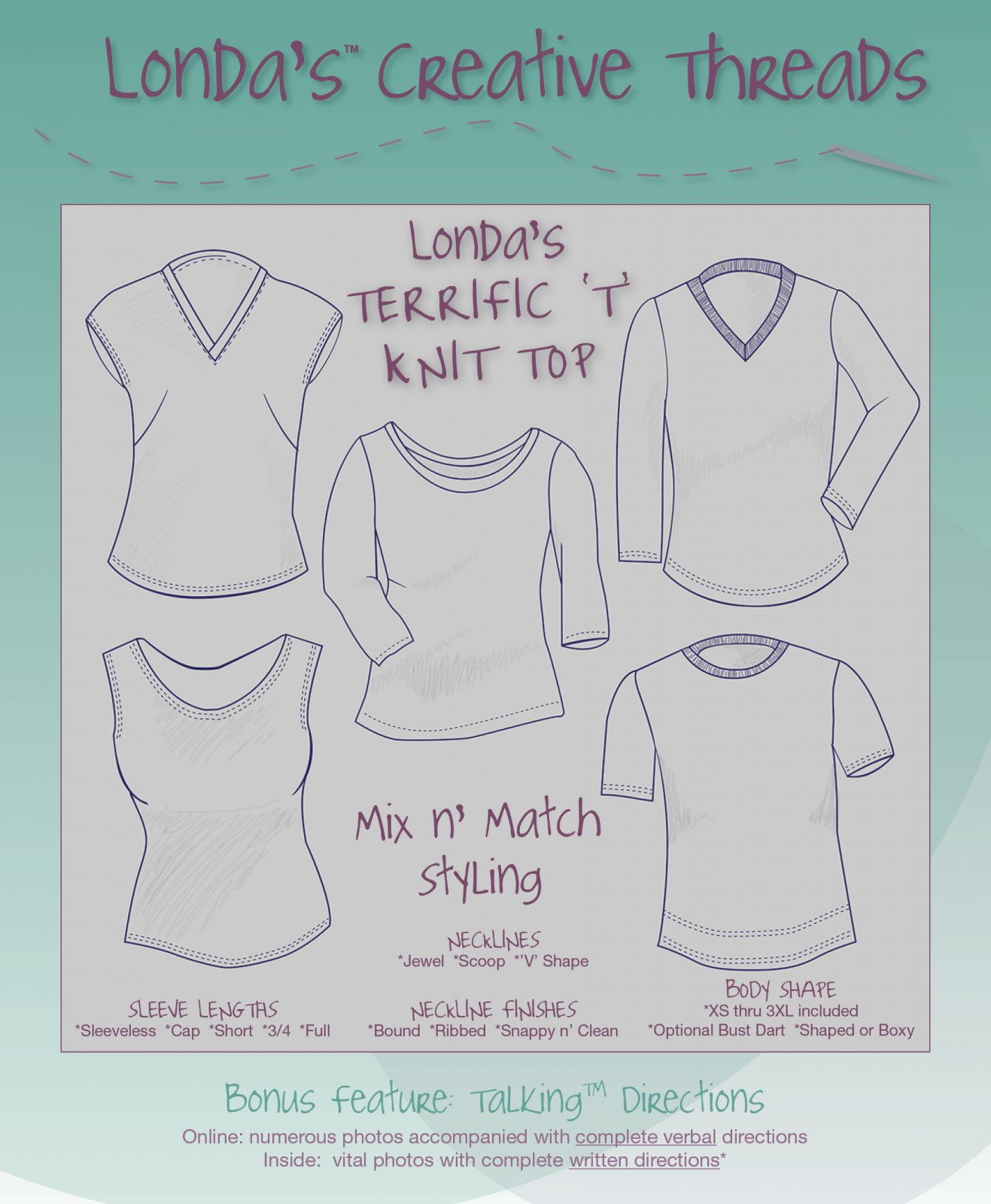 Londa's Terrific 'T' Knit Top Talking Pattern Booklet - Printed