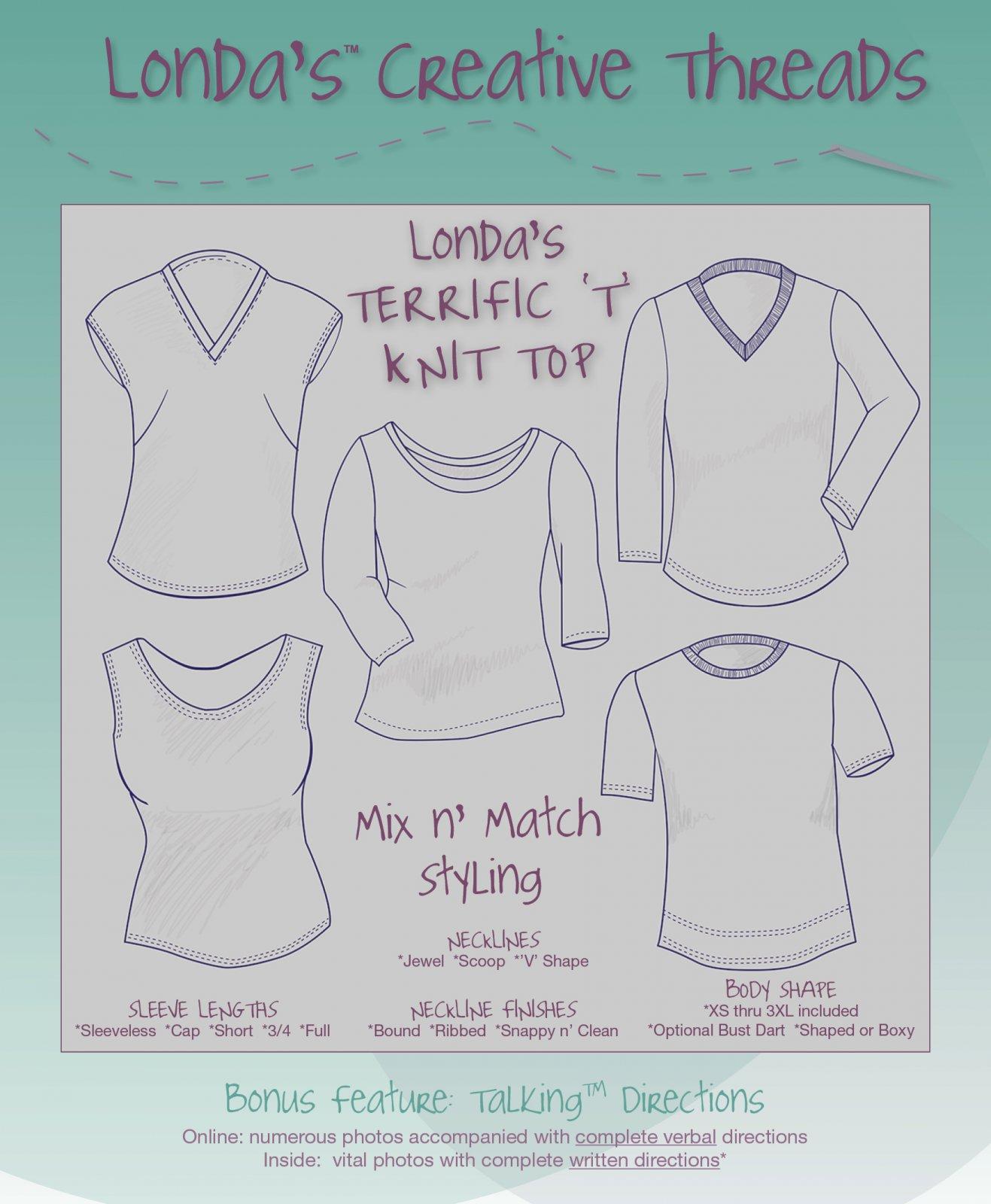 Londa's Terrific 'T' Knit Top Talking Pattern Booklet - Printed