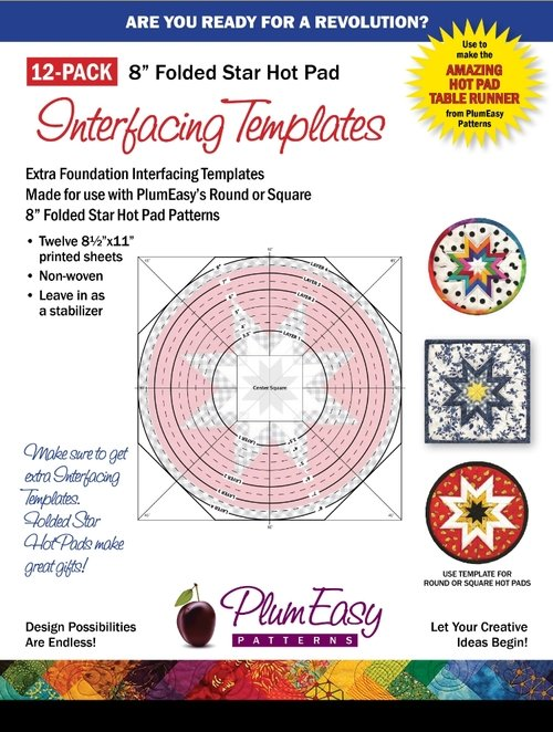 Plum Easy Folded Star Hot Pad Template 12-pack