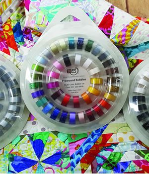 Quilters Select 40 Class 15 bobbins in ring Multi Colour