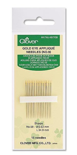 Clover Gold Eye Applique Needles #12
