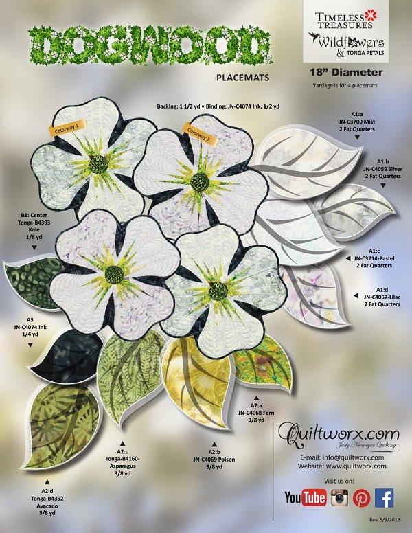 Quiltworx Dogwood - Petal Placemat pattern