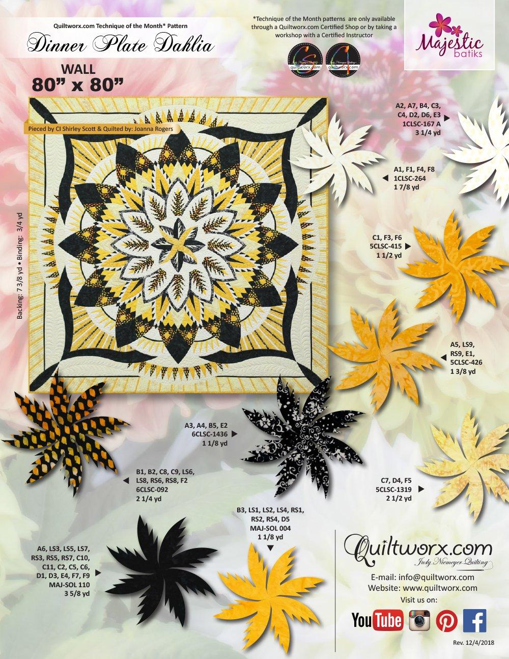 Quiltworx Dinner Plate Dahlia Wall pattern