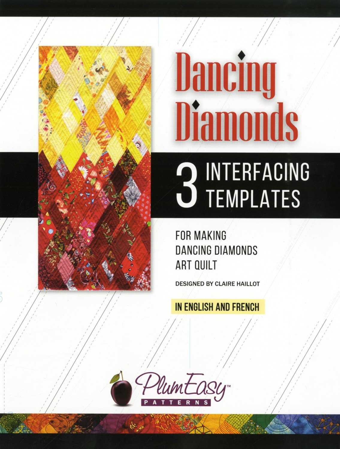 Dancing Diamonds Art Quilt interfacing template