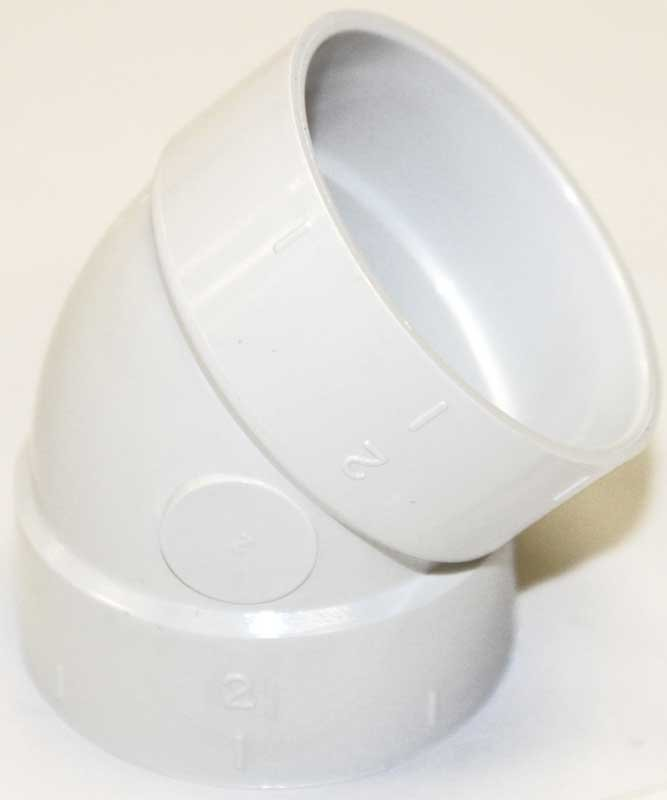 Built-In:  Fitting, White Elbow 45 Degree