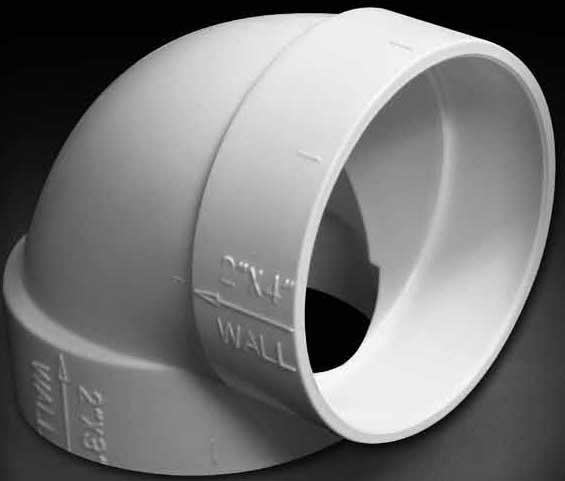Built-In:  FITTING, 90 EXTRA SHORT ELL, WHITE
