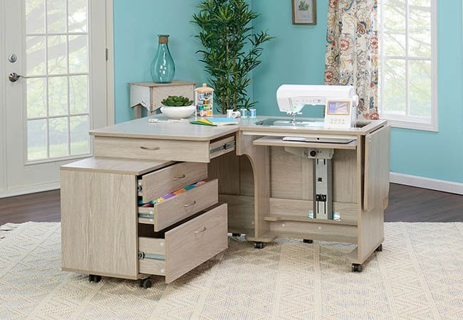 Tailormade Quilters Vision Sewing Cabinet With Caddie (White)