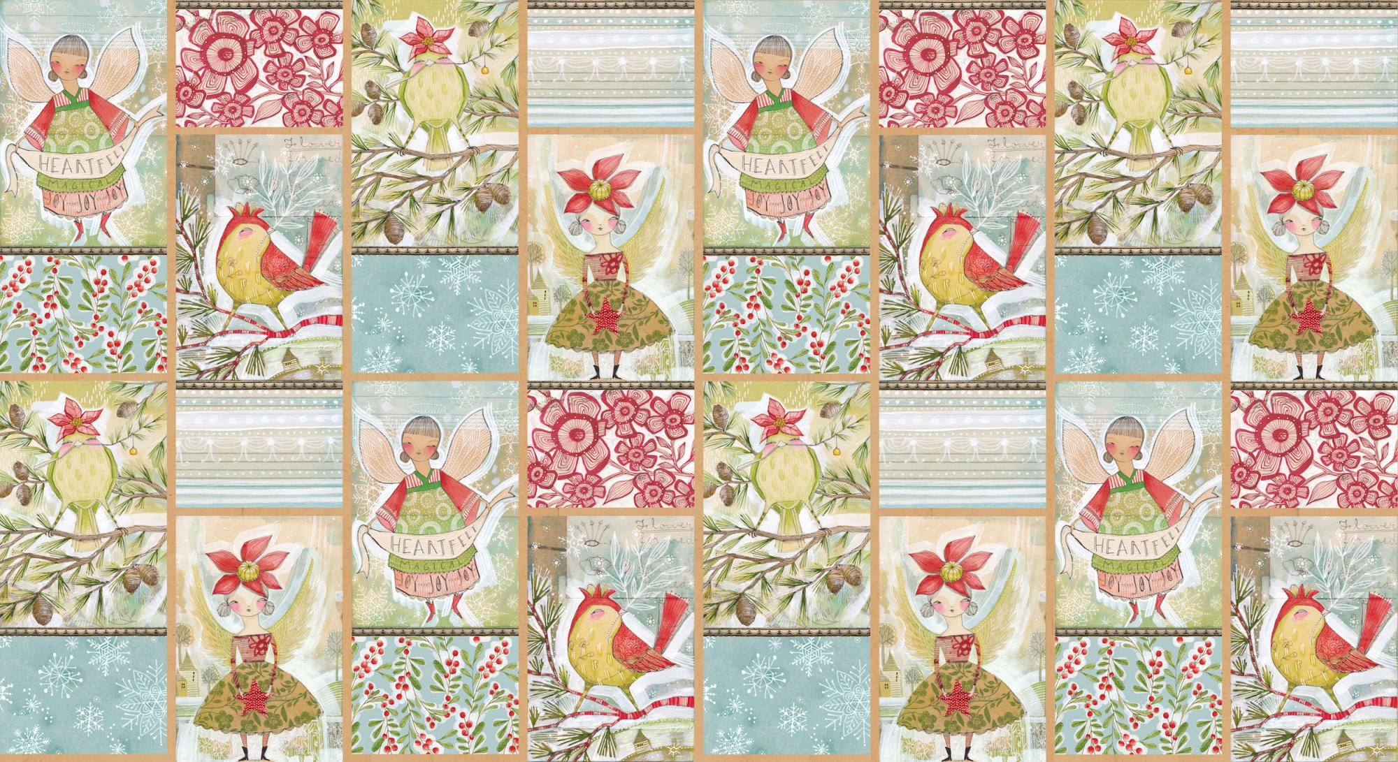 Merry Stitches Little World Panel 2/3yd