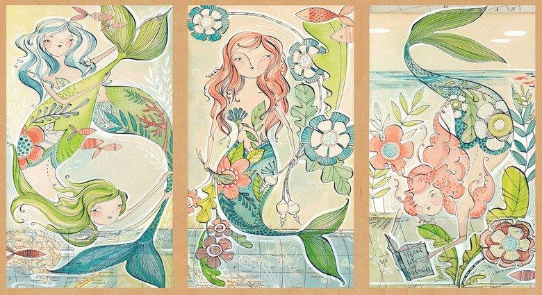 mermaid tale panel 2/3 yd