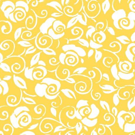 fiona contempo floral scroll yellow