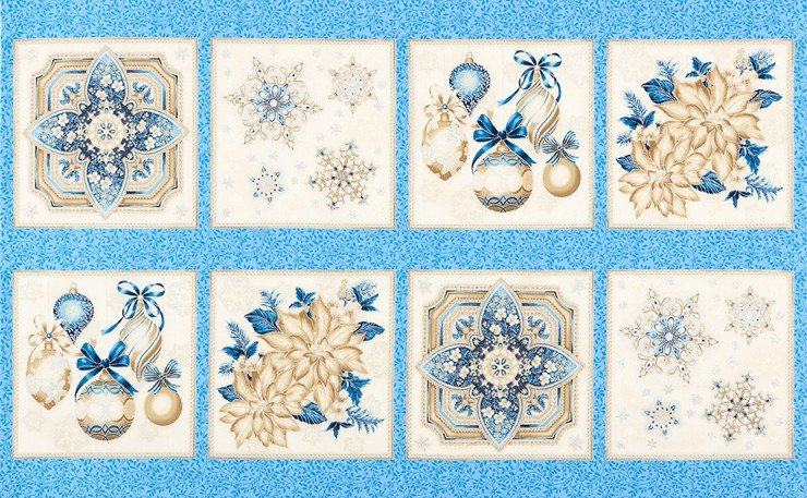 Holiday Flourish Blue Panel By The Yard