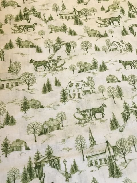 christmas bells toile green