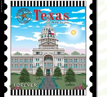 State Stamp Mini Fabric Panel Texas