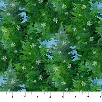 Northcott Christmas Woodland 23528-76 Green Multi