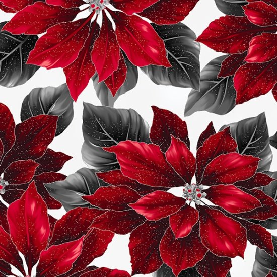 Hoffman Poised Poinsettia R7667-176S Ice/Silver