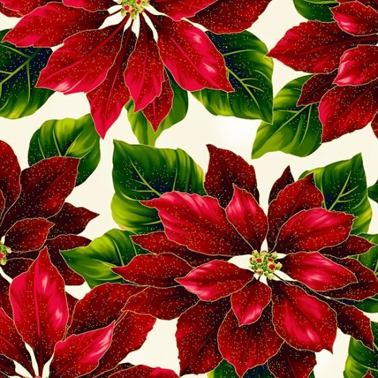 Hoffman Poised Poinsettia R7667-20G Natural/Gold