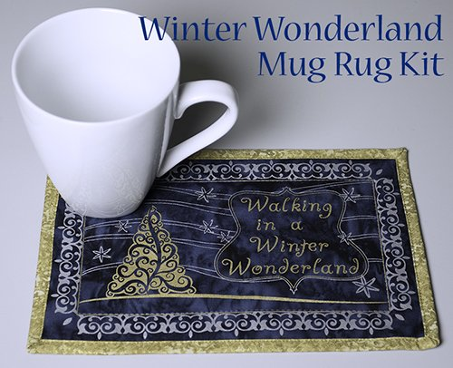 A Winter Wonderland Mug Rug on Batik