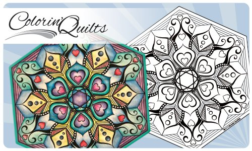 Colorin' Quilt - Millifiori Hexagon - Hearts 1