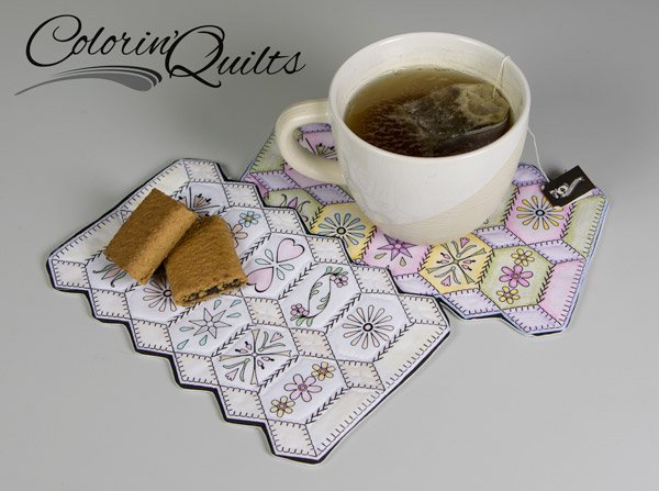 Colorin' Quilt - Set of 2 Mug Rugs - Hexagons