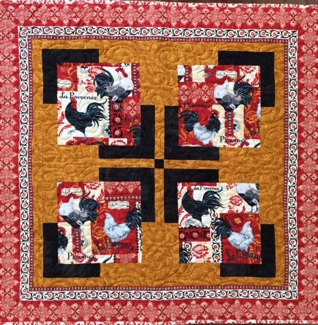 Reverie Rooster Table Topper 34x34