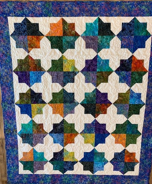 Double Square Star Quilt 61 x 74