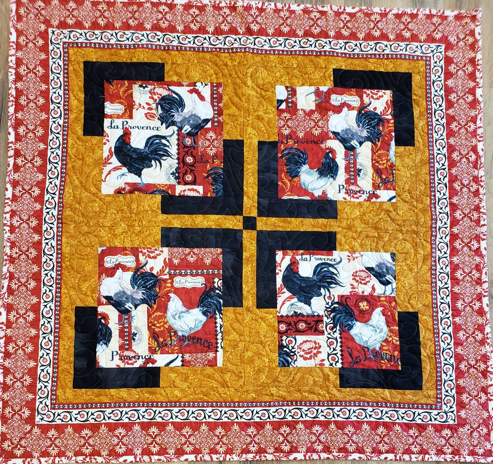 French Rooster Table Mat 34 square Quilt