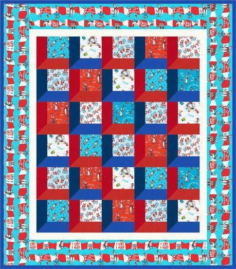 Bookshelf Cat and the Hat 60 X 70 Quilt