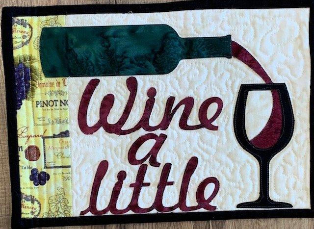 Wine A Little Mug Rug 7.5 x 10.5