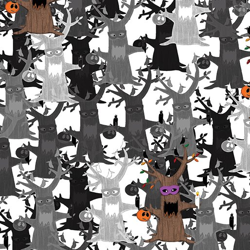 Booooville - Spooky Tree Gray/White