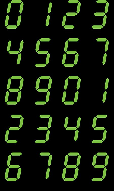 Matthew's Mini Monsters - Numeric Display - Green