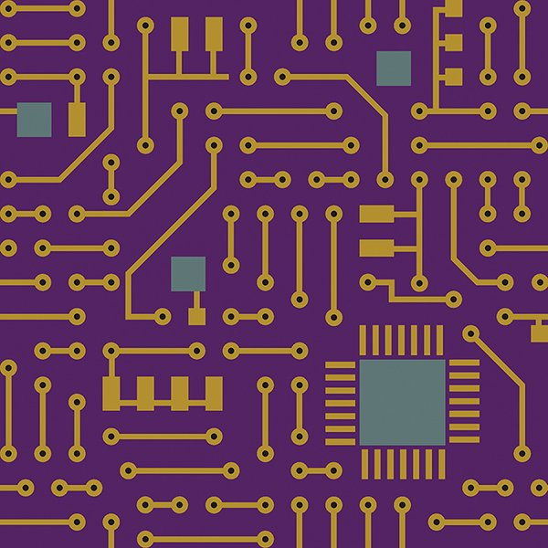 Matthew's Mini Monsters - Circuit Boards - Purple