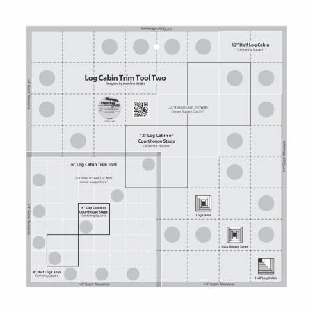 Creative Grids Log Cabin Trim Tool Two 6 x 12 Blocks Quilt Ruler